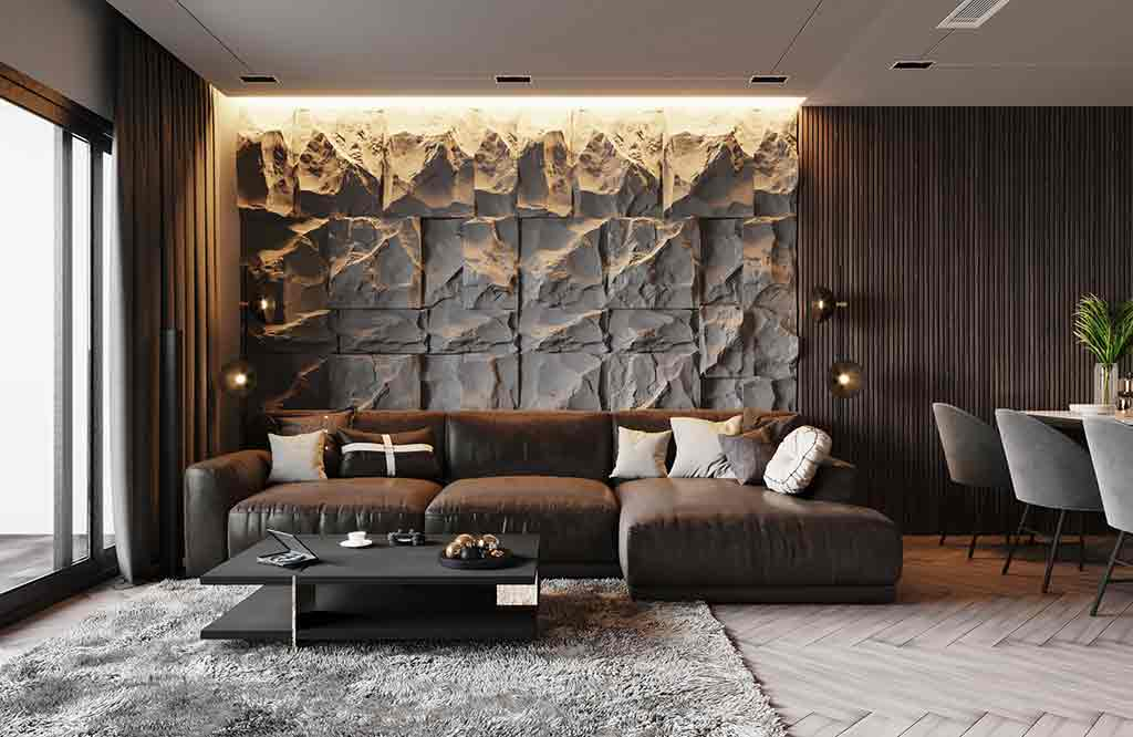 Choosing interior decorative stone must be in harmony with furnishing colors